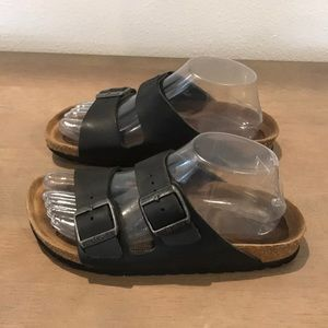 Auth Birkenstock leather sandals soft footbed 7